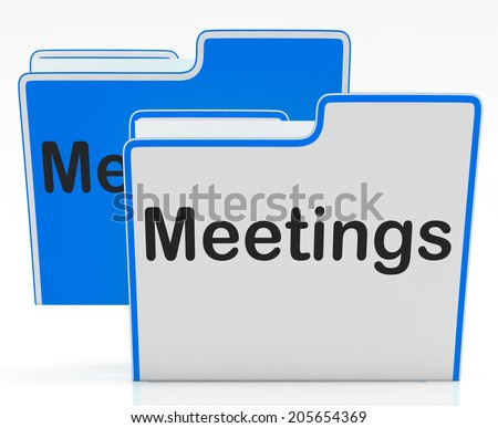 Files Meetings Indicating Talk Paperwork And Agenda