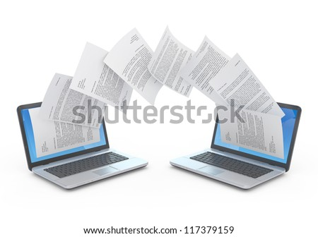 Files transfer between laptops. 3d illustration.