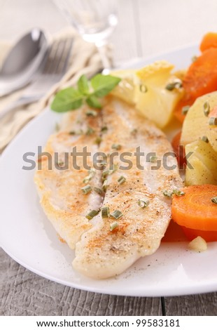 filet fish and vegetables