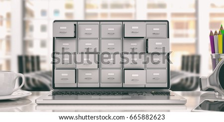 Filing archives cabinet on a laptop screen. Computer data storage and digital backup concept. 3d illustration