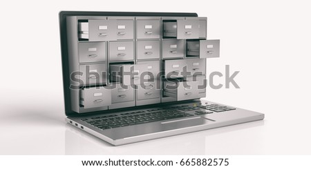 Filing archives cabinet on a laptop screen isolated on white background. Computer data storage and backup concept. 3d illustration