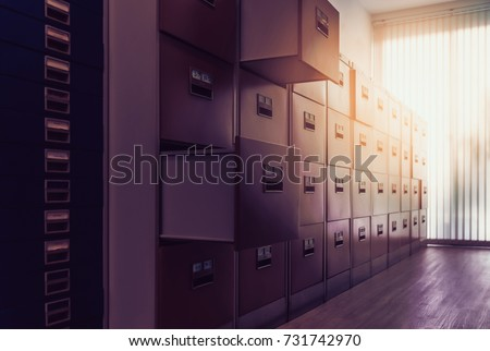 Filing cabinet at sunset