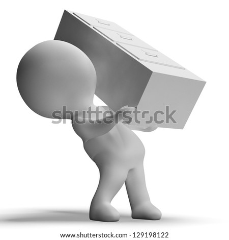 Filing Cabinet Carried By 3d Character Shows Organization