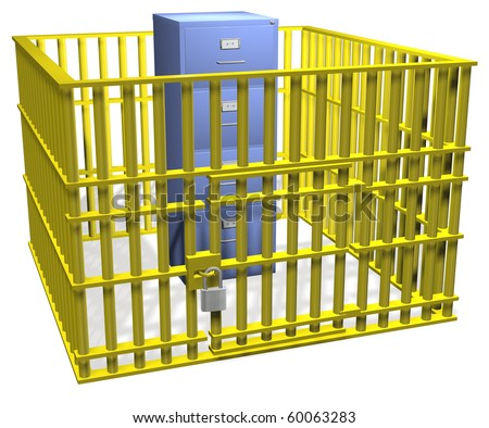 Filing cabinet data storage safe in security cage bars with lock.