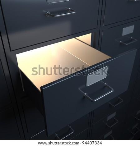 Filing cabinet for documents. 3d render
