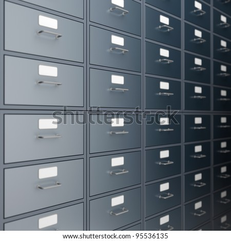 Filing cabinet for documents. 3d render