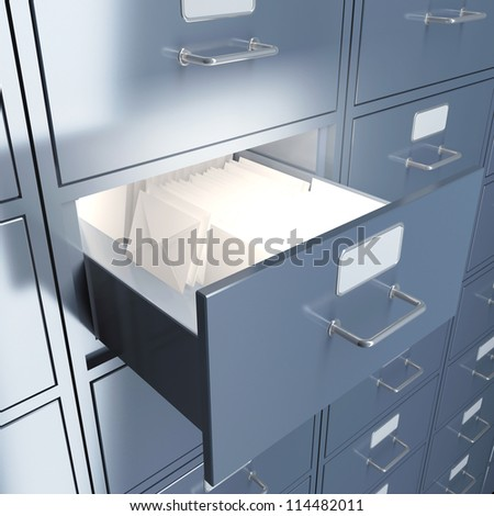 Filing cabinet for documents with letters. 3d render illustration