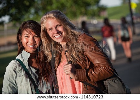 Filipino and European teenage girlfriends on campus
