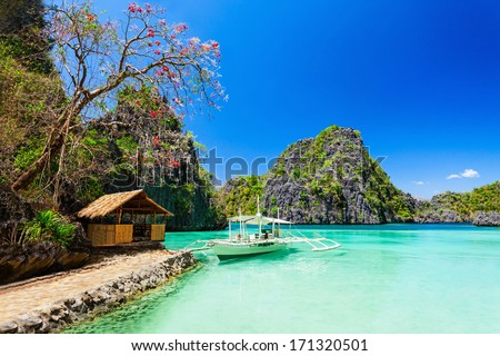 Filipino boat in the sea Coron Philippines