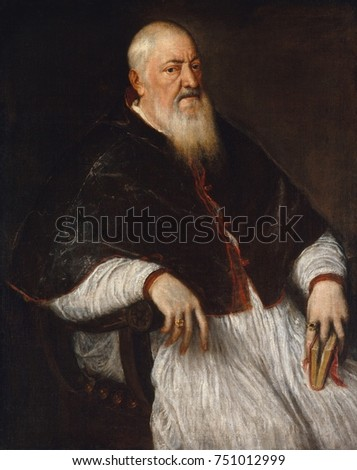 FILIPPO ARCHINTO, ARCHBISHOP OF MILAN, by Titian, 1555, Italian Renaissance painting. Filippo Archinto was a 16th century cleric who supported Saint Ignatius Loyola and attended the Council of Trent