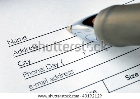 Fill in the name and address in an order form