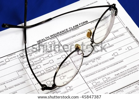 Fill the health insurance claim form isolated on blue