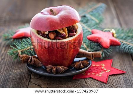 filled apple for christmas  #159428987