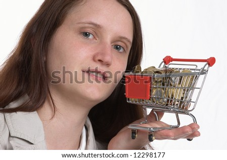 filled little shopping cart and face