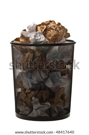 Filled up black metallic office trash basket isolated on white