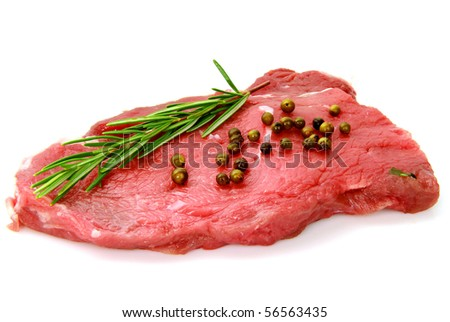 fillet of beef on white background