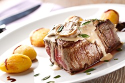 Fillet of beef with mushroom sauce and potatoes
