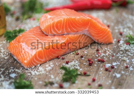 Shutterstock Fillet of salmon. Fresh and beautiful salmon fillet on a wooden table. Delicious fish meat.