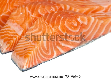 Fillet of salmon on a white background