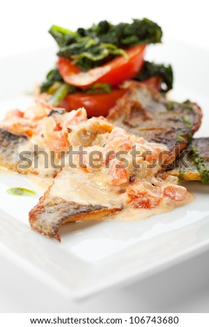 Fillet of Seabass with Tomato and Mussels Sauce