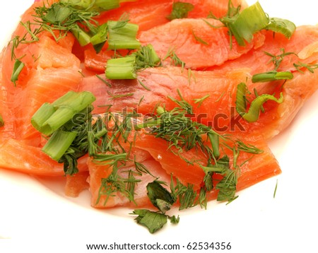 Fillet of tuna fish on a white background