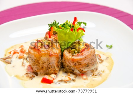fillet trout fish with baked vegetables and mushroom sauce