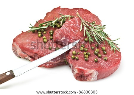 fillet with green pepper close up on white background
