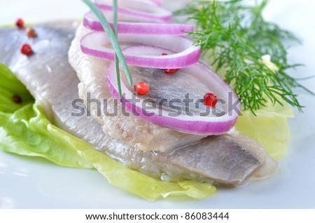 Fillets of white herring