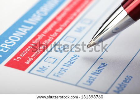 Filling Document Form - Paperwork, office, business - stock photo