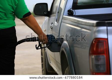 Filling fuel in car , filling Diesel in Pick up truck Zdjęcia stock ©