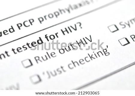 Filling Medical Form , HIV Status