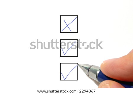 Filling out a check box, on a white background. - stock photo
