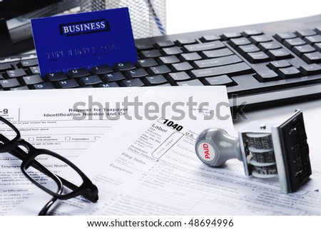 filling tax return - stock photo