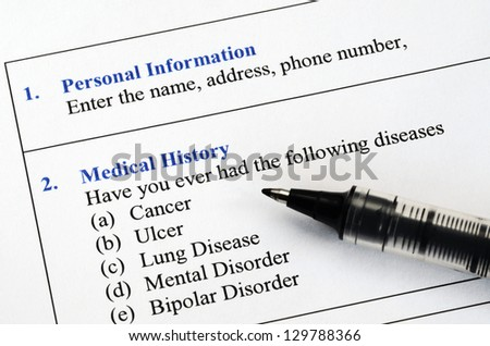 Filling the patient personal information and medical history questionnaire