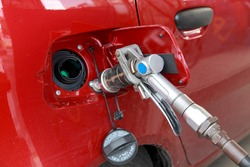 Filling up of liquid petrol gas,  LPG at petrol station