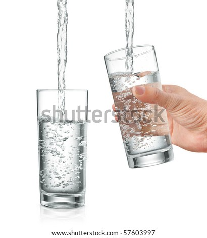 filling water into glass, with and without hand holding it