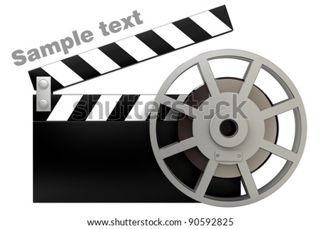 Film and clap board movies symbol closeup isolated on white. High resolution. 3D image
