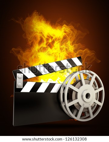 Film and clap board movies symbol in Fire. High resolution. 3D image - stock photo