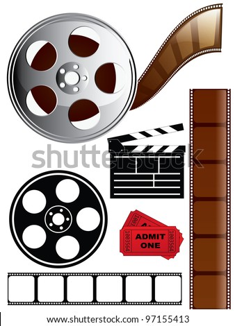 Film and Movie Icon Set - stock photo