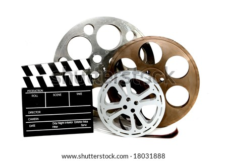 Film Canisters With Directors Clapboard on White Background