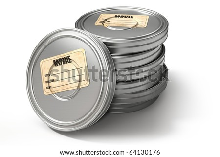 Film cans, isolated on white with clipping path, 3d render