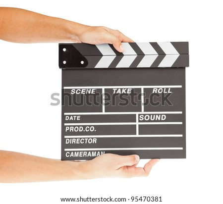 film clapper  board with space and hand #95470381