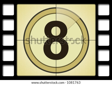 Film countdown. Number 8 - stock photo
