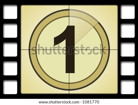 Film countdown. Number 1 - stock photo