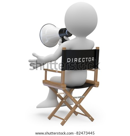 Film director sitting in a chair with a megaphone back view