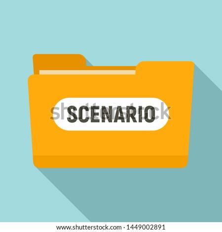 Film folder scenario icon. Flat illustration of film folder scenario icon for web design Foto d'archivio ©