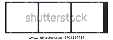 Film frame photo strip high-resolution blank filter. 35mm scan template texture effect. Trendy editable camera roll social stories design. 135 type isolated vintage analog cinema empty scratches. Stok fotoğraf ©