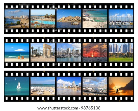 Film frames - nature and views of Tel-Aviv city (Israel), isolated on white