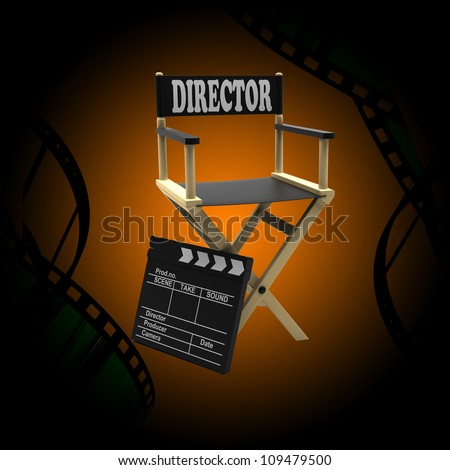 Film industry: directors chair and movie clapper on an abstract background