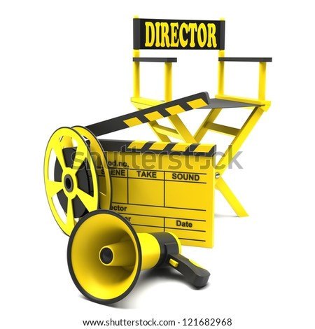 Film industry: directors chair with film strip and movie clapper